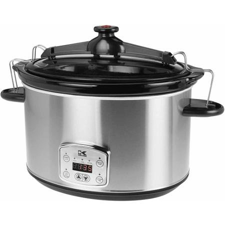 8-Qt Digital Slow Cooker with Locking Lid, Stainless Steel by Kalorik