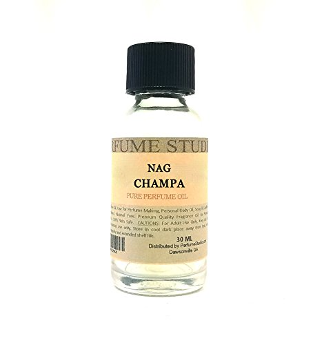 Nag Champa Perfume Oil for Perfume Making, Personal Body Oil, Soap, Candle Making & Incense; Splash-On Clear Glass Bottle. Premium Quality Undiluted & Alcohol Free (1oz, Nag Champa)