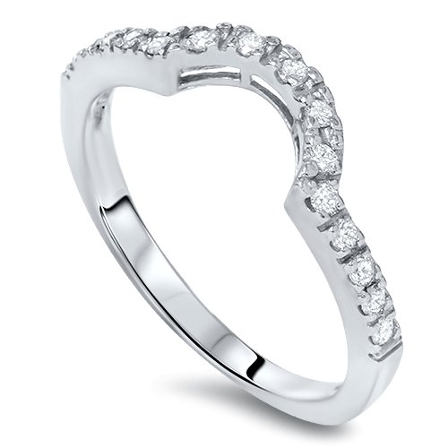 1/4ct Curved Diamond Notched Wedding Ring Enhancer 14K by Pompeii3 Inc.
