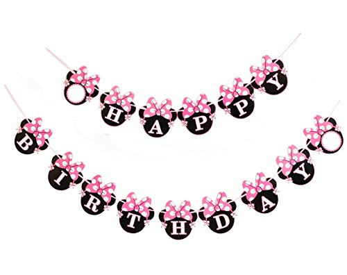 Kristin Paradise Minnie Happy Birthday Banner, Mouse Style Party Decorations, Party Supplies, Baby Shower for Girls (Mouse Minnie Birthday)