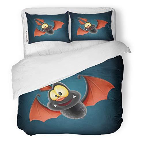 Semtomn Decor Duvet Cover Set Twin Size Halloween Bat Vampire Happy Creative Hanging Scary Animal Cartoon Character 3 Piece Brushed Microfiber Fabric Print Bedding Set Cover ()
