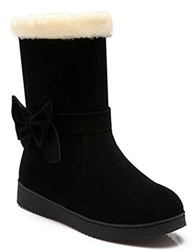 IDIFU Womens Warm Fur Lined Flat Faux Suede Winter Booties Mid Calf Snow Boots With Bow Black QYZ6Yzgj
