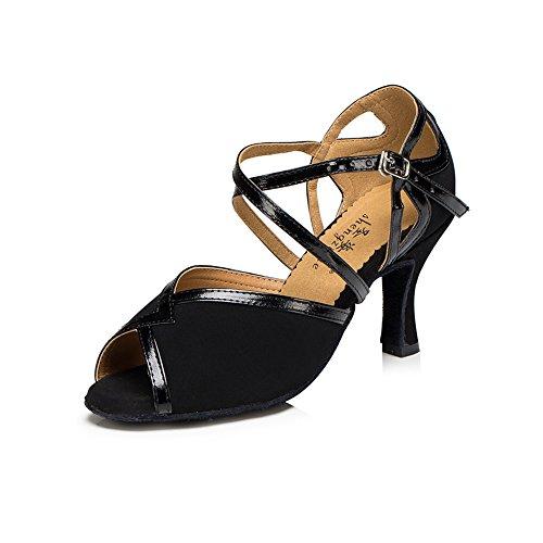 Señoras Zapatos De Baile Latino Banner Chagalla Zapatos Negro 7.5cm