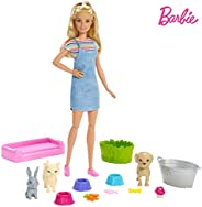 Barbie Play 'n' Wash Pets Playset with Blonde Doll, 3 Color-Change Animals a Puppy, Kitten and Bunny and 10 Pe