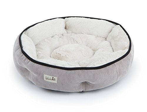 Petlinks Soothing Escape Gel Memory Foam Pet Bed, Medium, Natural Plush/Gray Corduroy - Memory Foam Round Dog Bed