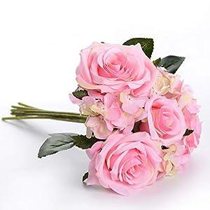 "Charmly Artificial Silk Rose Hydrangea Flowers 7 Heads Bouquet Wedding Home Decoration Approx 7"" in Diameter Rose Hydrangea-Pink 16"
