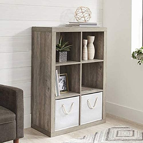 41GGEegCi%2BL. AC Better Homes and Gardens.. Bookshelf Square Storage Cabinet 4-Cube Organizer (Weathered) (White, 4-Cube) (Rustic Gray, 6-Cube)    This Better Homes and Gardens organizer is built to make your space a better place with a value than cant be beat. Offered in a variety of trendy finishes, it will compliment any decor. It's smart, simple design is ideal for showing off decorative and meaningful items. It is easy to assemble and includes all the hardware you will need to complete this piece. It is the perfect addition to your home, home office, dorm room, reception area or classroom. Personalize it by adding the Better Homes and Gardens storage baskets. They are designed to fit perfectly in the cubes and are sold separately. Weight Capacity: Top Panel Max Load 100 lbs, Individual Shelves Max Loads 30 lbs;Finishes: Multiple Finishes available; Assembly: Easy Assembly, Hardware Included;It's smart, simple design is ideal for showing off decorative and meaningful items;It is the perfect addition to your home, home office, dorm room, reception area or classroom.