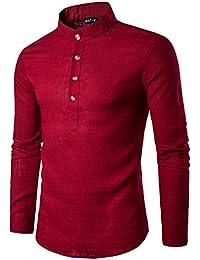 Mens Casual Slim Fit Linen Henley Transform Roll-up Long Sleeve T Shirt Tops