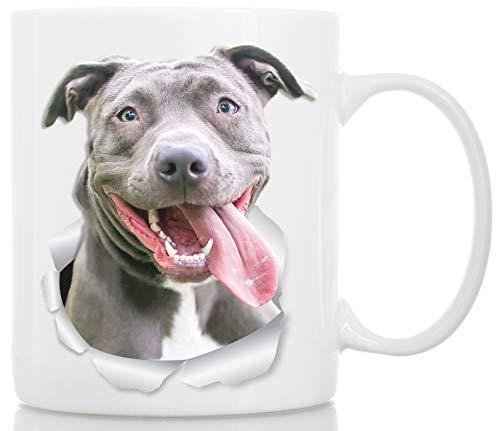 Happy Pit Bull Mug - Pitbull Ceramic Coffee Mug - Perfect Pitbull Gifts - Funny Cute Pit Bull Dog Coffee Mug for Dog Lovers and Owners (11oz)