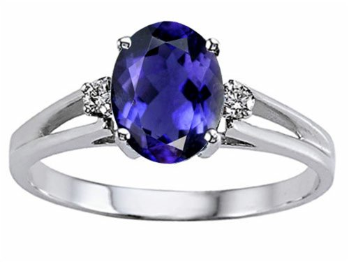 Tommaso Design Oval 8x6 mm Genuine Iolite Ring 14 kt White Gold Size 8.5 ()
