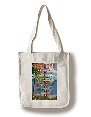 Traverse City, Michigan - Sign Destinations (100% Cotton Tote Bag - Reusable, Gussets, Made in - Michigan Shopping Traverse City