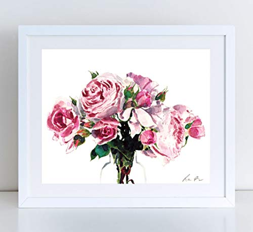 Pink Peony Giclee Art Print Watercolor Painting Wall Home Decor Rose Bouquet of Roses Floral Arrangement Full Bloom Flower Garden Botanical Cute Preppy Feminine Still Life Canvas