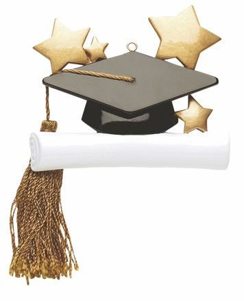 Graduation Graduate Hat and Tassel Personalized Christmas Tree Ornament-Free Personalization and Gift Bag! (Graduate Hat)