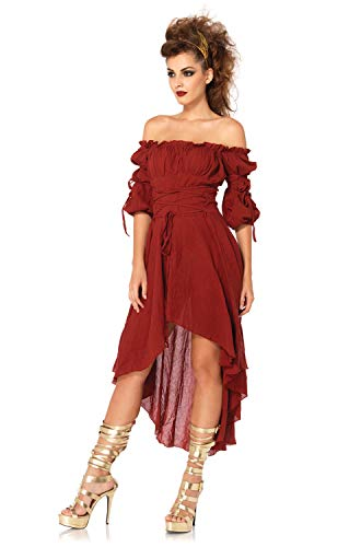 Leg Avenue Women's High Low Peasant Dress Costume, Burgundy, Medium/Large -