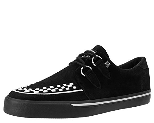 T.U.K. Shoes A9182 Unisex-Adult Sneakers, Black Suede White Interlace VLK Sneaker - US: Men 11/Women 13 Tuk Creeper Shoes