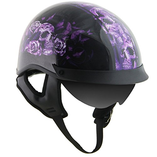 Outlaw T-72 Dual Visor Glossy Motorcycle Half Helmet with Butterflies and Skull - Medium