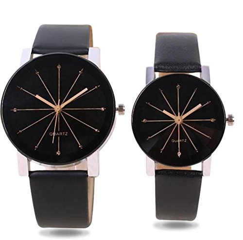Analogue Black Dial Leather Crystal Glass Couple Watch