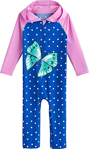 Coolibar UPF 50+ Baby Hooded One Piece Swimsuit - Sun Protective (12-18 Months- Baja Blue Butterfly)