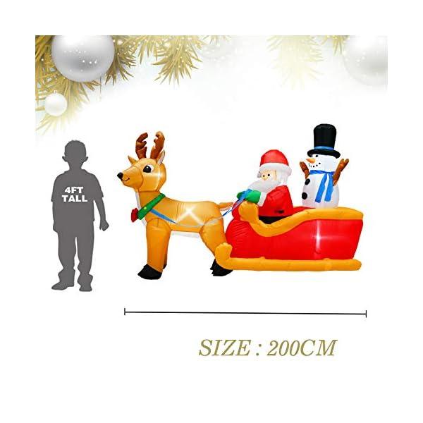 PARAYOYO - Babbo Natale gonfiabile con renna e pupazzo di neve per decorazioni natalizie 2 spesavip