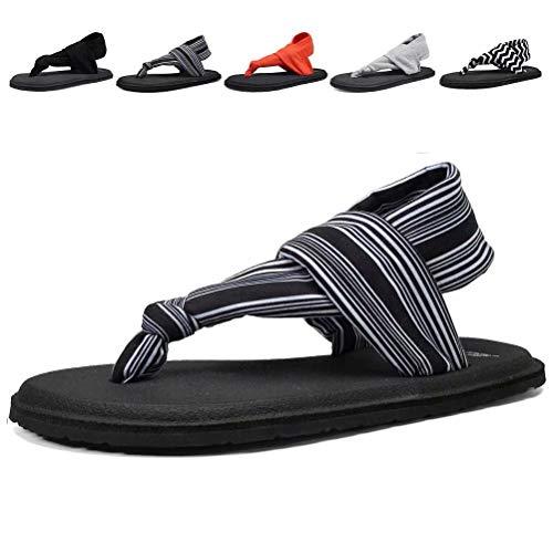 DESTURE Womens Yoga Sling Flip Flops Mat Thong Sandals Lightweight Shoes Size 6-10,Black.White,39-8M