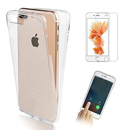 iPhone 4G 4S Clear Funda, Bonice Carcasa Protectora 360 Grados TPU Cristal Transparente Protección Completa Case Cover Smartphone Accesorio + Screen Protector - Blanco Blanco