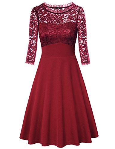 Bridesmaid Dresses, Laksmi Empire Waist Round Neck 3/4 Sleeve A Line Lace Dress, WINE XXL