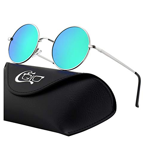 CGID E01 Small Retro Vintage Style John Lennon Inspired Circular Circle Metal Rimmed Round Polarized Sunglasses Goggles Shades for Women and Men with Gift ()