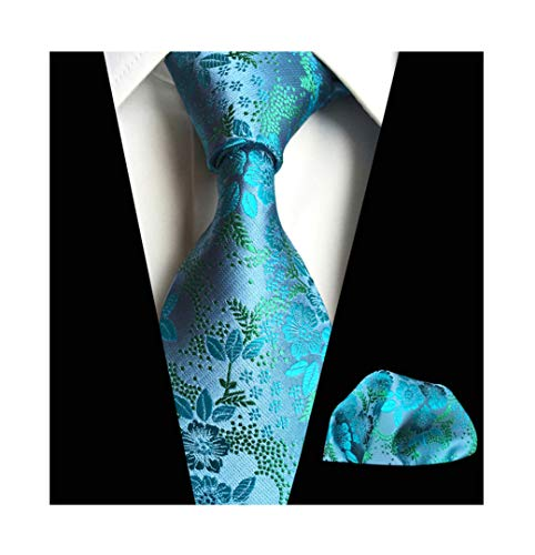 Men Teal Blue Ties Hanky Set Floral Fashion Woven Silk Party Formal Necktie Gift