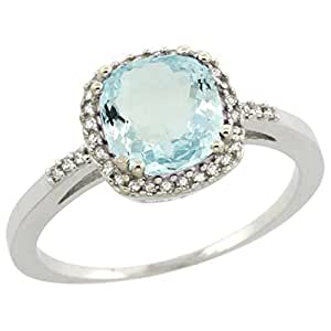 Sterling Silver Diamond Natural Aquamarine Ring Cushion-cut 7x7mm, 3/8 inch wide, size 5