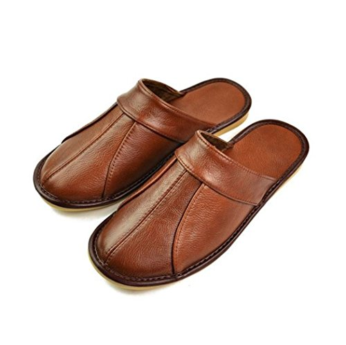 Slipper Flat Home Leather Womens amp; SAMSAY Closed Shoes Brown Mens Toe Genuine for qfgYT