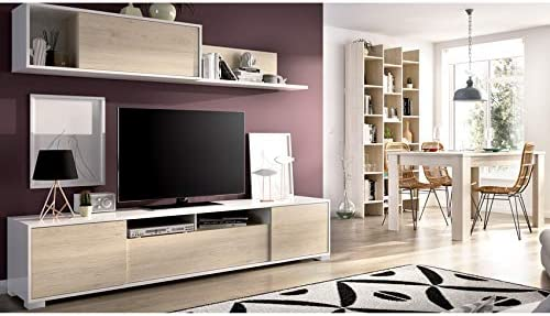 HABITMOBEL Mueble Salón con Estante + Mesa de Comedor Extensible ...