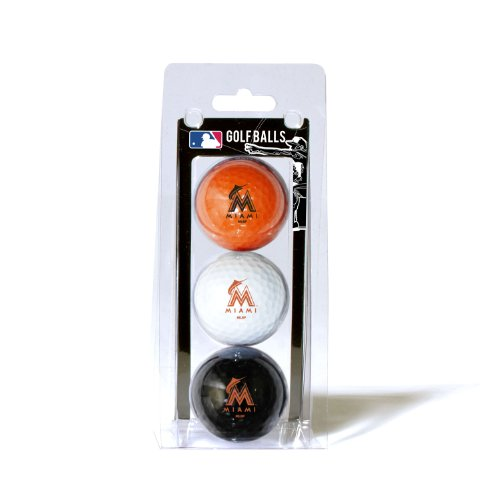 Miami Golf Balls - Team Golf MLB Miami Marlins Regulation Size Golf Balls, 3 Pack, Full Color Durable Team Imprint