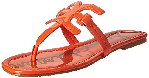 Sam Edelman Women's Carter Flat Sandal, Tangelo Patent, 8 M (Orange Patent Sandals)