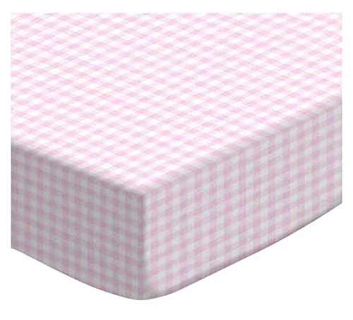 SheetWorld Fitted Portable/Mini Crib Sheet - Pink Gingham Jersey Knit - Made In USA