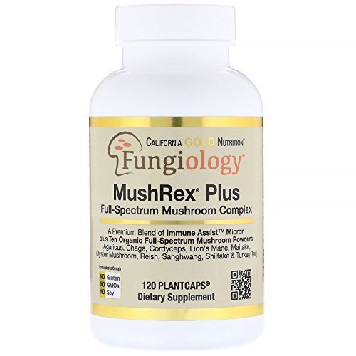 - California Gold Nutrition Fungiology MushRex Plus Full-Spectrum Mushroom Complex Certified Organic Immune Assist Micron 120 Plant Caps