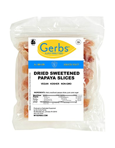 - Dried Sweetened Papaya, 4 LBS - Preservative Free & Unsulfured by Gerbs - Top 12 Food Allergy Free & NON GMO - Product of Thailand