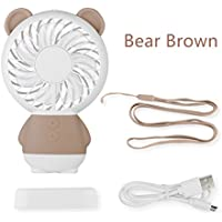 TYMANO Mini Handheld Fan Portable Personal Fan USB Rechargeable Fan with LED Gradual Atmosphere Light for Office Outdoor Household Travel (Bear Brown)