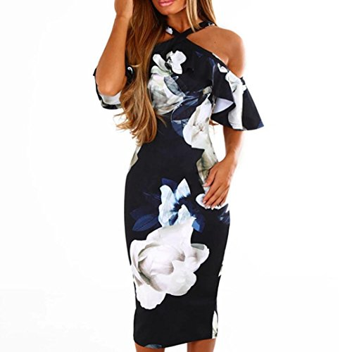 Women Dress Daoroka Sexy Off Shoulder Floral Print Sleeveless Cross Summer Club Work Wear Party Dress Skirt (M, Navy)