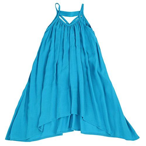 LELEFORKIDS - Toddlers and Girls Light Cotton Asymmetric Swing Away Dress in Ocean Blue 3T