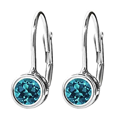 Gem Stone King 925 Sterling Silver London Blue Topaz Dangle Earrings 1.10 Ct Round Gemstone Birthstone