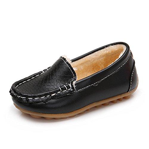 BENHERO Kids Boys Girls Loafers Slip on Soft Synthetic Leather Boat Dress Shoes Flat(9 M US (Black Kid Leather Footwear)