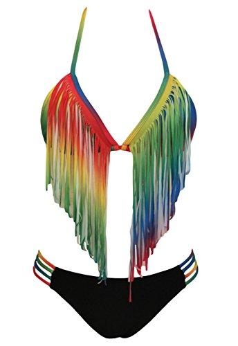 ent Rainbow Long Fringe Bikini S ()