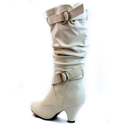 Top Moda Women's Auto-2 Round Toe Dress Boot, White PU, 8.5