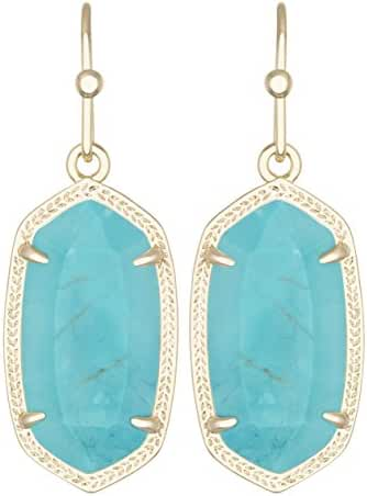 Kendra Scott Signature Dani Drop Earrings Gold Plated and Turquoise Color Magnesite Color