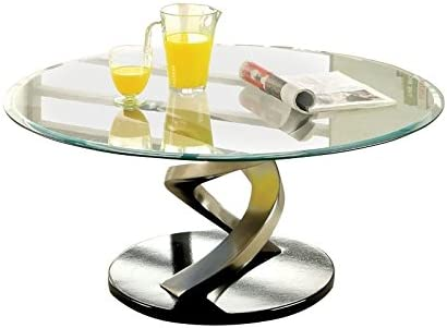 BOWERY HILL Round Glass Top Coffee Table