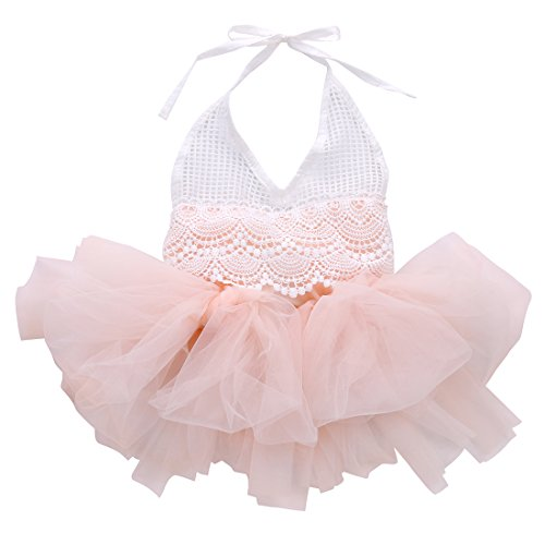 Thing 1 And Thing 2 Tutu (Baby Infant Girls Lace Crochet Top Tutu Ruffle Romper Tulle Jumpsuit Overalls (0-3 Months, Pink))