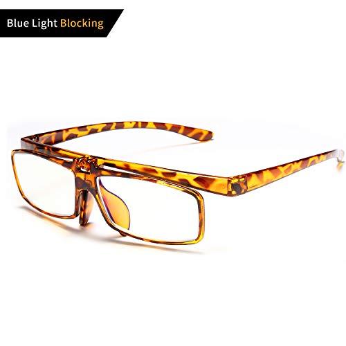 VVDQELLA 2.5 Reading Glasses Flip Up Anti UV Blue Light Readers Glasses Comfortable & Convenient Computer Glasses for Men/Women Turtle