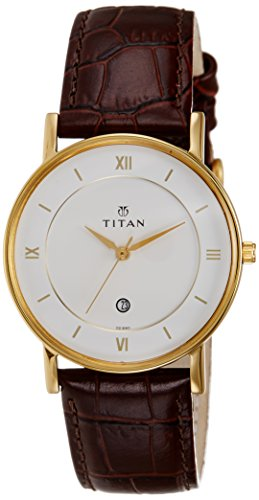 Titan Workwear Men's Contemporary Watch - Quartz, Water Resistant, Leather Strap - Brown Band and White Dial (Best Titan Watches In India)