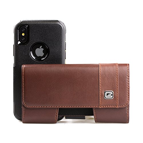[Gorilla Clip] CASE123 MPS MK II TL Genuine Leather Horizontal Oversized Swivel Belt Clip Holster for Apple iPhone X for use Otterbox Commuter, Symmetry, and rugged cases - Dark Cognac Cowhide by CASE123 (Image #1)