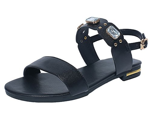 Buckle Solid Toe Heels Sandals Black WeiPoot Low Women's Open wqUyIgt
